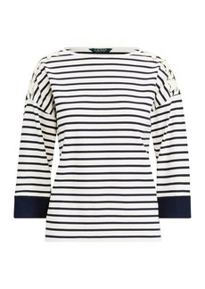 Ralph Lauren Jersey Lace-Up-Sleeve Top