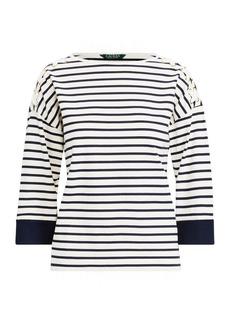 Ralph Lauren Jersey Lace-Up-Sleeve Top