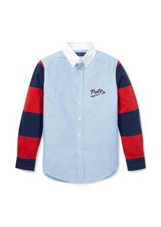 Ralph Lauren Jersey-Sleeve Oxford Shirt