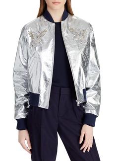 Ralph Lauren Juliet Beaded-Embellished Metallic Lamb Leather Bomber Jacket