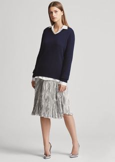 Ralph Lauren Kiernan Pleated Lamé Skirt