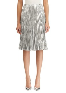 Ralph Lauren Kiernan Pleated Lamé A-line Skirt