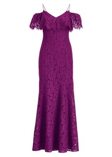 Ralph Lauren Lace Cold-Shoulder Gown