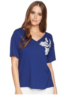 Ralph Lauren Lace Embroidered Jersey Top