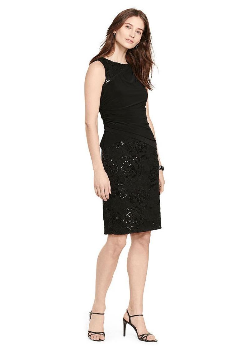 Ralph Lauren Lace-Jersey Sheath Dress