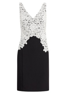 Lace-Overlay Crepe Dress
