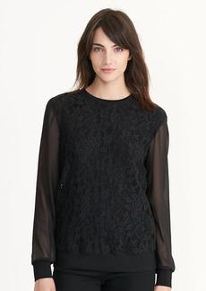 Ralph Lauren Lace Sheer-Sleeve Sweatshirt