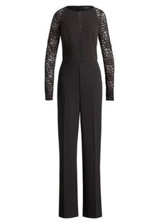 Ralph Lauren Lace-Sleeve Jersey Jumpsuit
