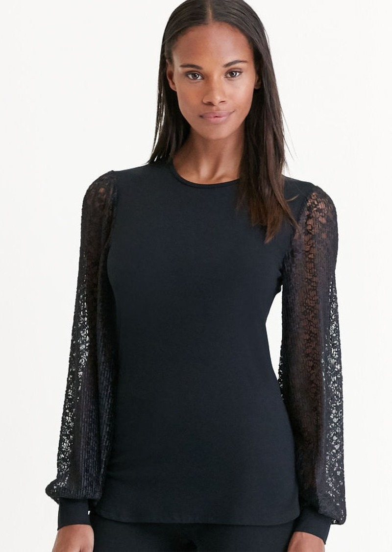 Ralph Lauren Lace-Sleeve Jersey Top
