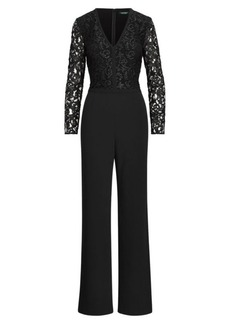Ralph Lauren Lace-Trim Crepe Jumpsuit