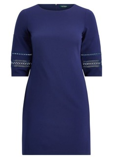 Ralph Lauren Lace-Trim Jersey Shift Dress
