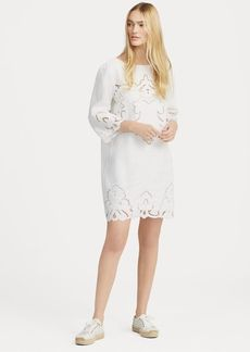 Ralph Lauren Lace-Trim Linen Shift Dress
