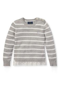Ralph Lauren Lace-Trim Striped Sweater