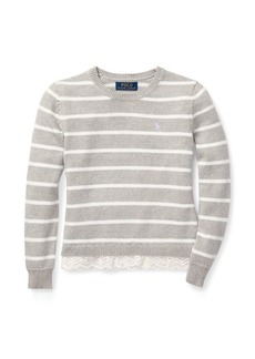 Ralph Lauren Lace-Trim Striped Sweater
