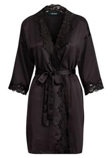 Ralph Lauren Lace-Trimmed Satin Robe