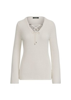 Ralph Lauren Lace-Up Cotton-Blend Sweater