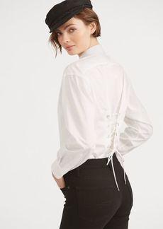 Ralph Lauren Lace-Up Cotton Boyfriend Shirt