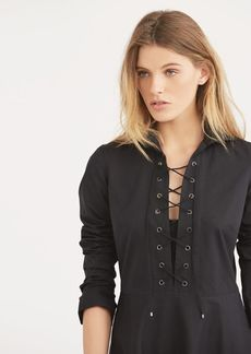 Ralph Lauren Lace-Up Cotton Shirtdress