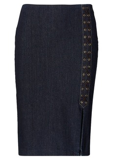Lace-Up Denim Pencil Skirt