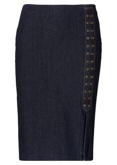 Ralph Lauren Lace-Up Denim Pencil Skirt