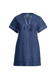 Ralph Lauren Lace-Up Denim Shift Dress