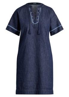 Ralph Lauren Lace-Up Denim Shift Dress