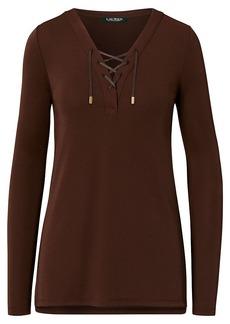 Ralph Lauren Lace-Up Jersey Tunic Top