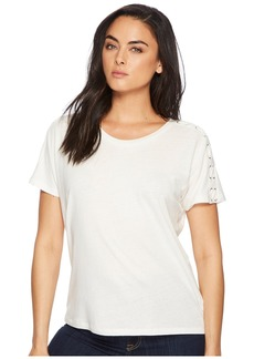 Ralph Lauren Lace-Up Linen-Jersey Top
