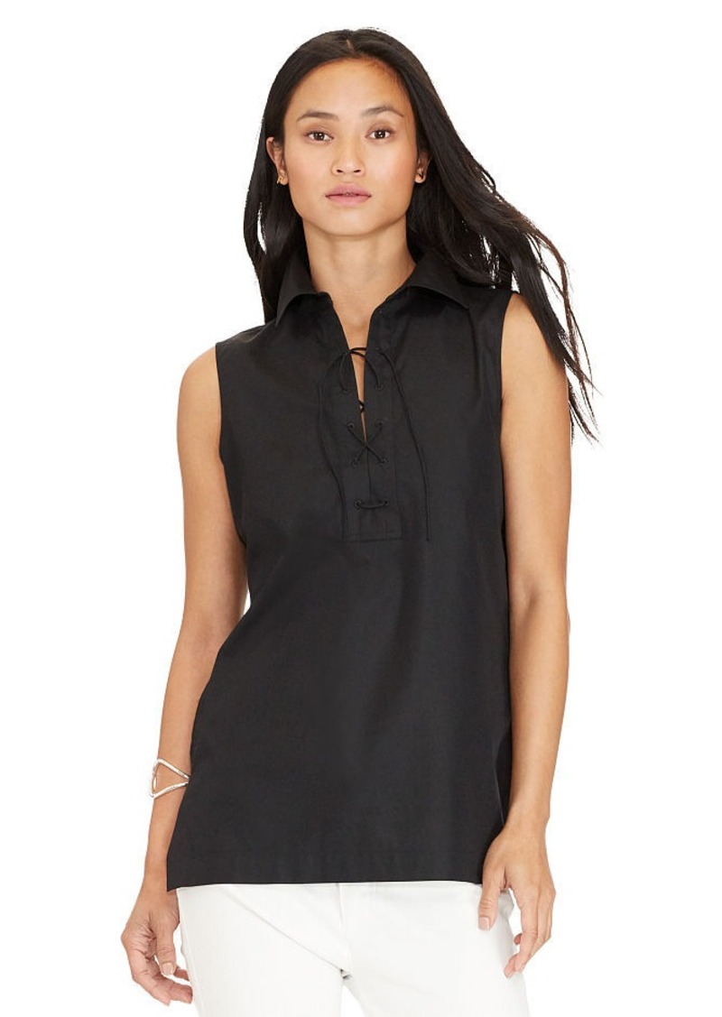 Ralph Lauren Lace-Up Sleeveless Shirt