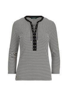 Ralph Lauren Lace-Up Striped Cotton Top
