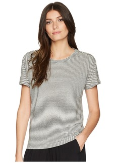 Ralph Lauren Lace-Up Striped Linen T-Shirt