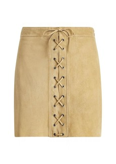 Ralph Lauren Lace-Up Suede Miniskirt