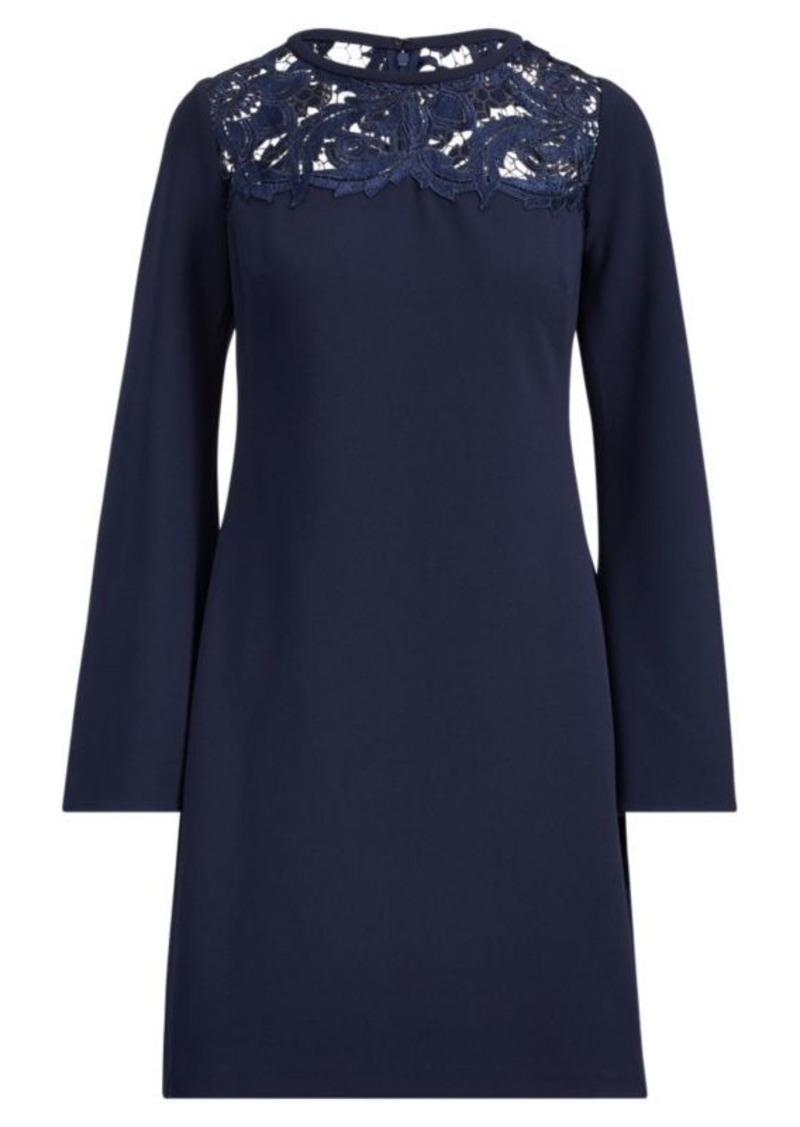 Ralph Lauren Lace-Yoke Crepe Dress
