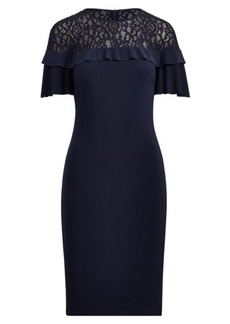Ralph Lauren Lace-Yoke Ruffle Jersey Dress