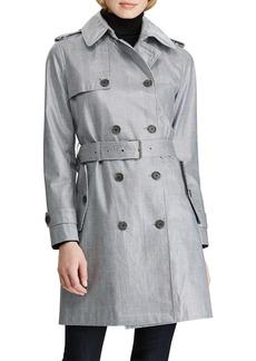 Ralph Lauren Laminated Glen Plaid Trench Coat