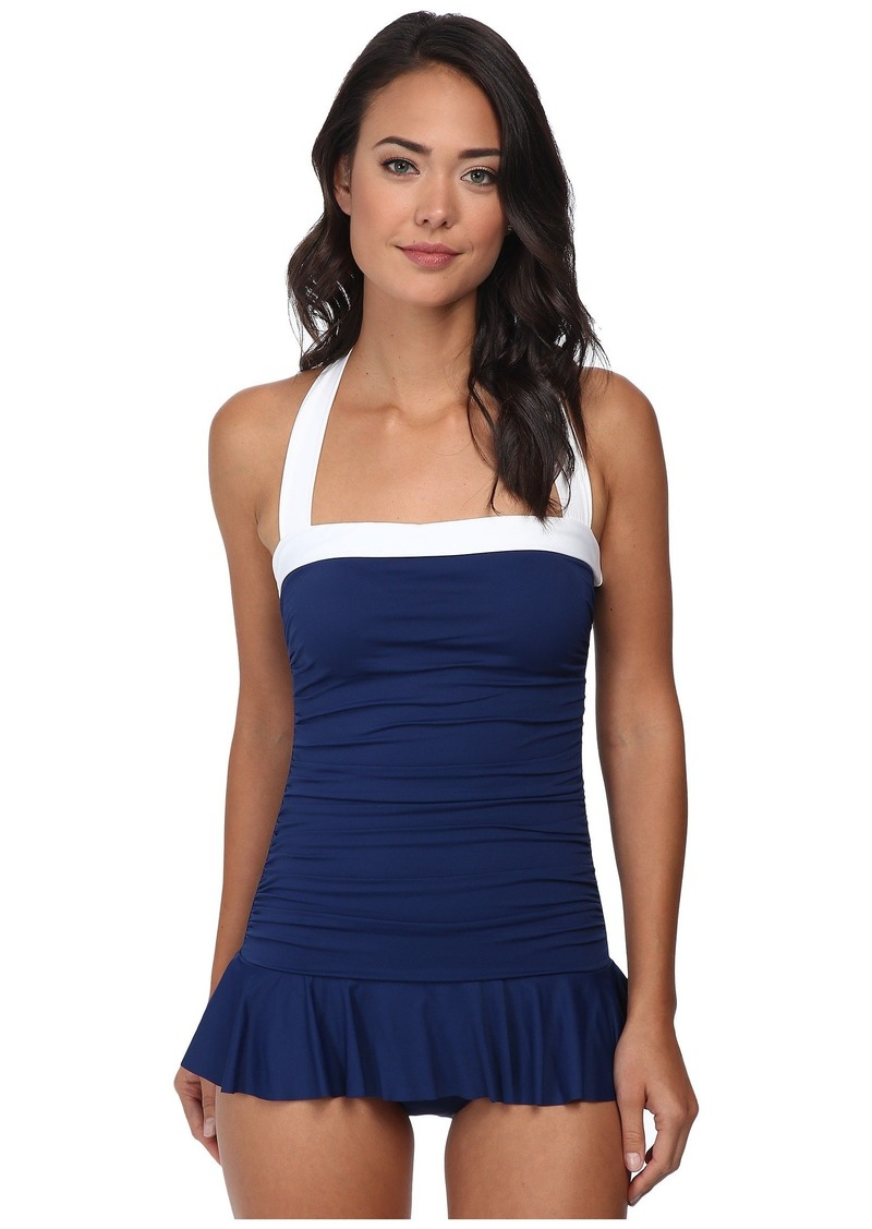 Lauren by Ralph Lauren Women's Bel Aire Shirred Bandeau Skirted Mio Slimming Fit One-Piece Bright  Swimsuit