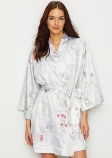 Lauren Ralph Lauren + Botany Print Satin Kimono Robe