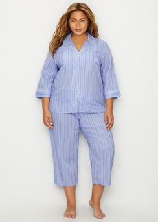 Lauren Ralph Lauren + Plus Size Classic Stripe Woven Pajama Set