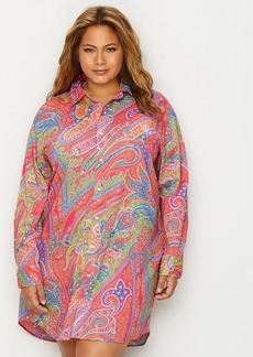 Lauren Ralph Lauren + Plus Size Roll Tab Woven Sleep Shirt
