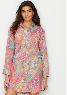 Lauren Ralph Lauren + Roll Tab Woven Sleep Shirt