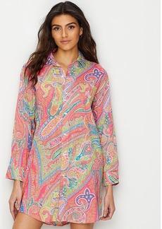 Lauren Ralph Lauren + Roll Tab Woven Sleep Shirt