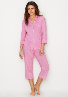 Lauren Ralph Lauren + Striped Knit Capri Pajama Set