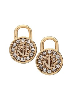 Lauren Ralph Lauren 2-Pair Padlock Goldtone Crystal Earrings