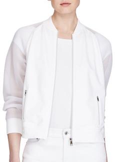 Lauren Ralph Lauren Alzat Mesh-Sleeve Bomber Jacket