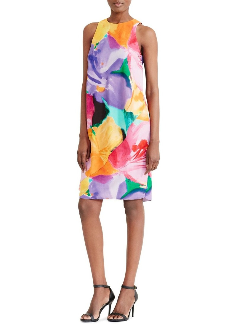 Lauren Ralph Lauren Asymmetric Overlay Watercolor Floral Shift Dress