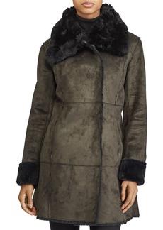 Lauren Ralph Lauren Asymmetric Paneled Faux Shearling Jacket
