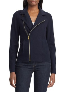 Lauren Ralph Lauren Asymmetrical-Zip Cotton-Blend Moto Jacket