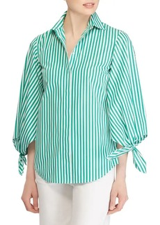 Lauren Ralph Lauren Balloon-Tie Sleeve Stripe Shirt