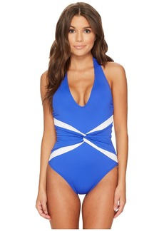 Ralph Lauren Beach Club Plunge Twist Halter One-Piece Shaping Fit w/ Removable Cups