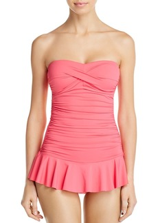 Lauren Ralph Lauren Beach Club Solid Twist Shirred Skirted One Piece Swimsuit